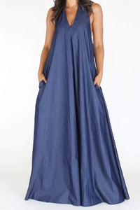 Halter Denim Maxi Dress