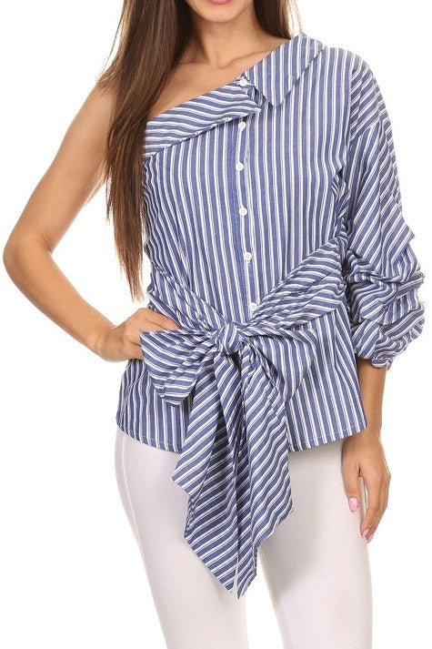 One Shoulder Button Up