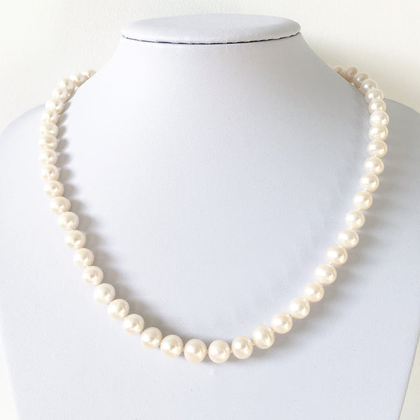 Pearlberry Jewellery Freshwater Genuine Real White Pearl Necklace Silver Lobster Clasp