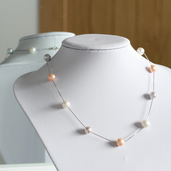 Pearlberry Jewellery Floating Multi Colour Natural Pearl Necklace Sterling Silver