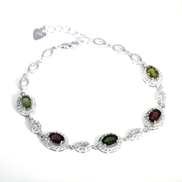 watermelon tourmaline bracelet sterling silver uk