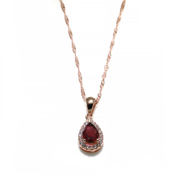 Medium pink pear cut tourmaline pendant rose gold-plated silver necklace