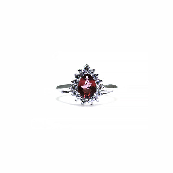 Dark Pink Tourmaline Flower Ring Pearlberry Jewellery