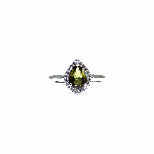 Green Tourmaline Gemstone Silver Halo Ring Pearlberry Jewellery