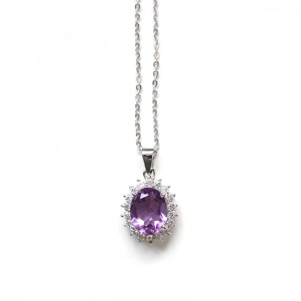 Oval Cut Amethyst Diamond Pendant