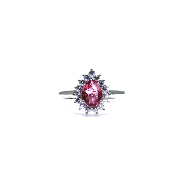 Pink Tourmaline Silver Flower Ring Pearlberry Jewellery