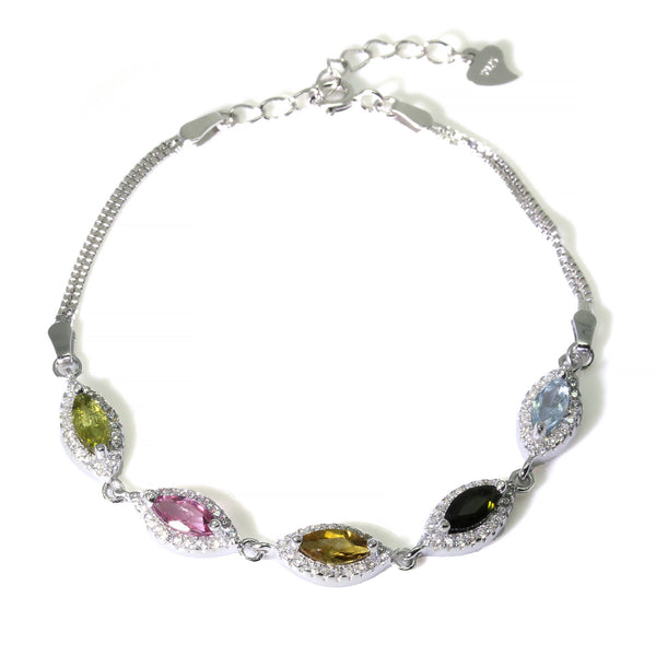 Marquise Cut Multicolour Tourmaline Gemstone Sterling Silver Halo Diamond Bracelet