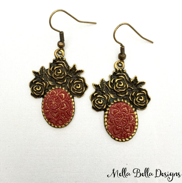 Antique Gold & Burgundy Floral Earrings