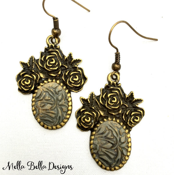 Antique Gold & Grey Floral Earrings