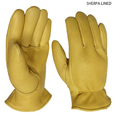 Favorite Elkskin Leather Work Gloves - Sherpa Lined - Cowboy Hats and More
