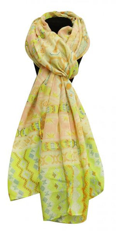 "X 64"" soft, voile scarf with lime Southwest design."