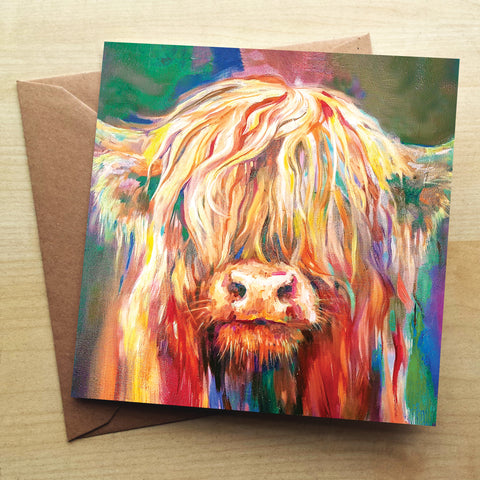 Baby Highland SG07G Greetings Card by Sue Gardner