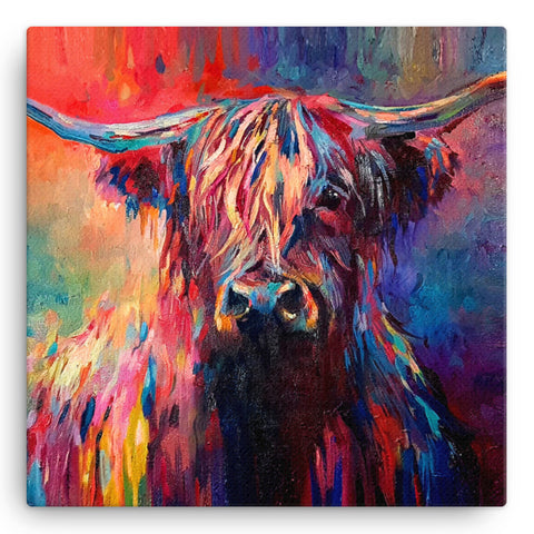 Highland Cow SG03W Large Canvas by Sue Gardner