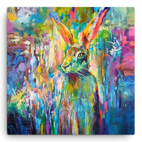 Woodland Hare SG05W Large Canvas by Sue Gardner