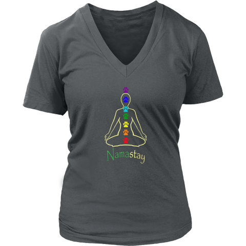 Ladies Namastay Dark V-neck Tee