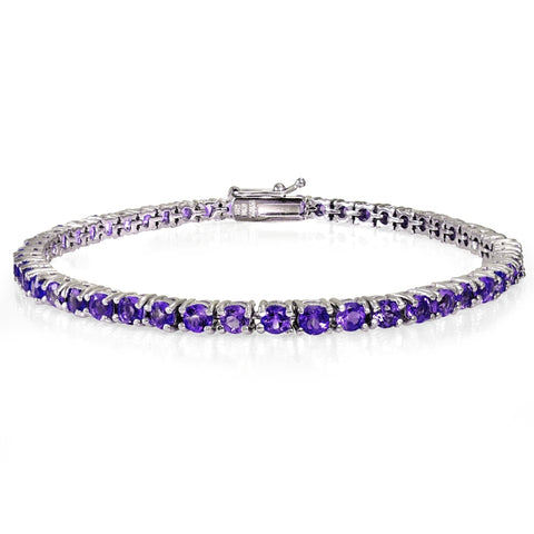 Sterling Silver 4.15ct Amethyst 3mm Round Tennis Bracelet