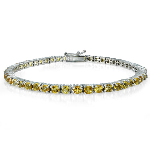Sterling Silver 4.4ct Citrine 3mm Round Tennis Bracelet