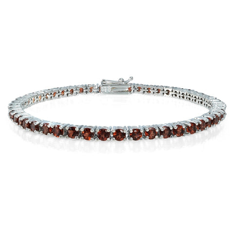 Sterling Silver 7ct Garnet 3mm Round Tennis Bracelet