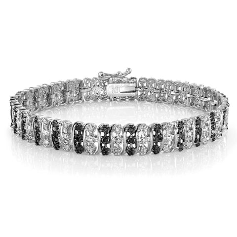 1.00ct TDW Black & White Diamond S Pattern Tennis Bracelet