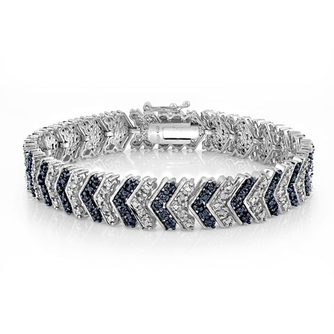 1 Carat Blue & White Diamond Chevron Tennis Bracelet