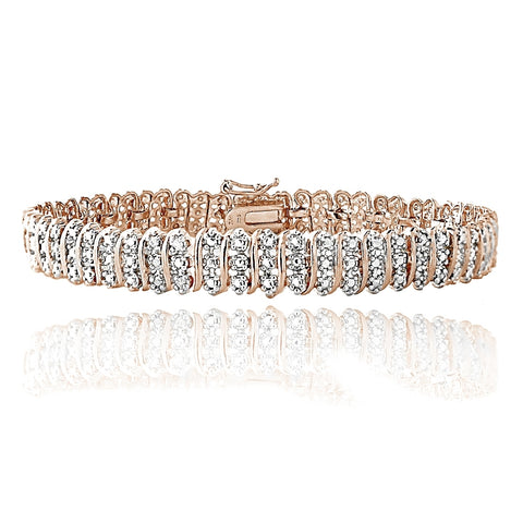 Rose Gold Tone 1.00ct TDW Diamond S Pattern Tennis Bracelet
