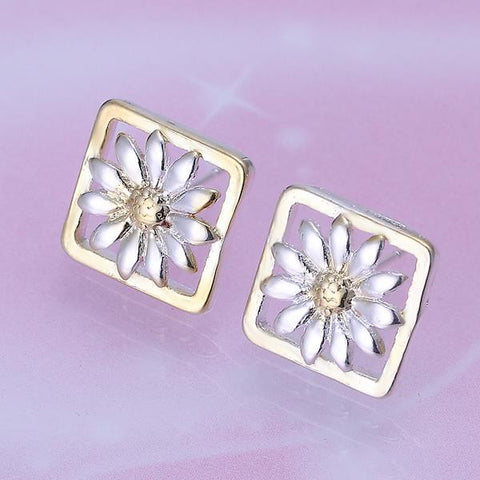 Sterling Silver Daisy Petals Square Shaped Earring - rubiquejewelry.com