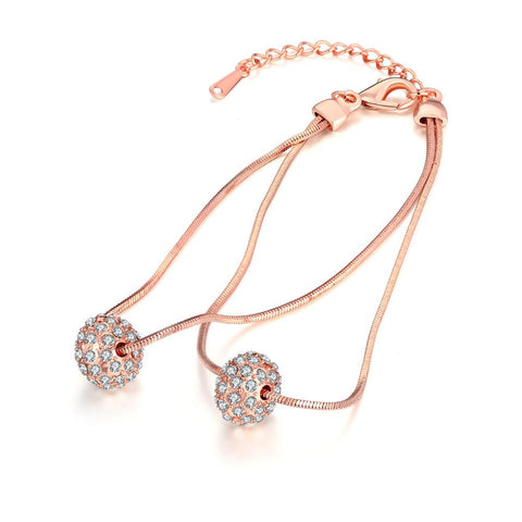 18K Rose Gold Plated Crystal Pava Ball Bracelet - rubiquejewelry.com