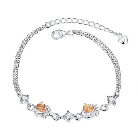 Orange Citrine Diamond Shapped Petite Anklet - rubiquejewelry.com