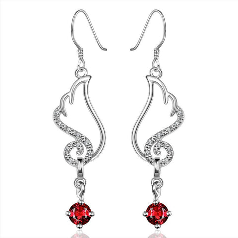 Sterling Silver Butterfly Ruby Wings Drop Earring - rubiquejewelry.com