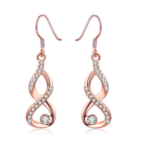 18K Rose Gold Plated Infinity Drop Earrings - rubiquejewelry.com