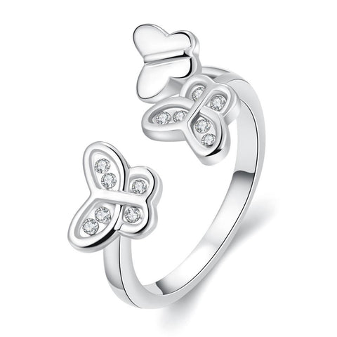 White Gold Plated Butterfly Ring - rubiquejewelry.com