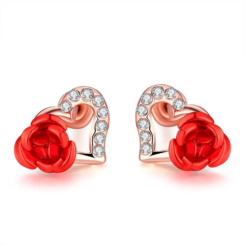 18K Rose Gold Plated Heart Flower Stud Earrings - rubiquejewelry.com