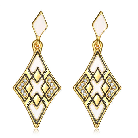 18K Gold Emerald Style Diamond Shaped Drop Down Earrings Made with Swarovksi Elements - rubiquejewelry.com