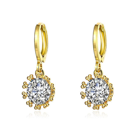 Gold Plated Crystal Jewel Clip-On Earrings - rubiquejewelry.com