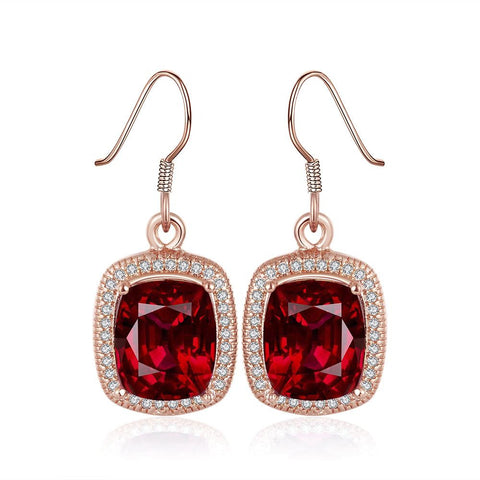 18K Rose Gold Drop Down Ruby Gem Earrings Made with Swarovksi Elements - rubiquejewelry.com