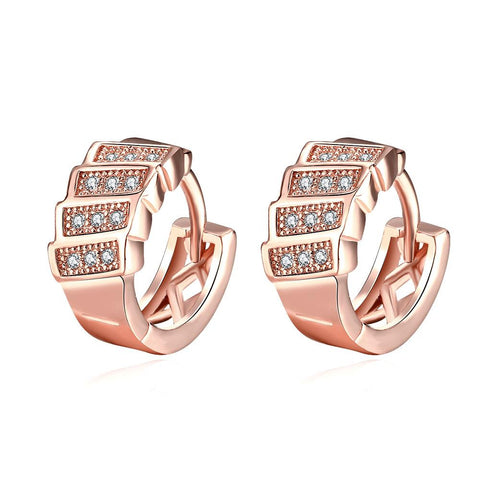 Rose Gold Plated Horizontal Plates Mini Hoop Earrings - rubiquejewelry.com