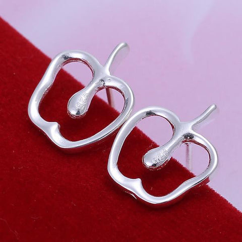 Sterling Silver Hollow Apple Shape Earring - rubiquejewelry.com