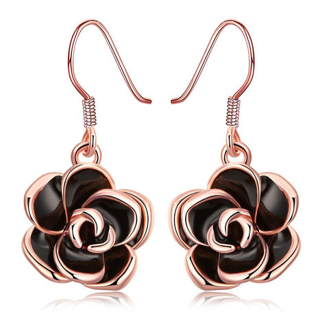 18K Rose Gold Plated Flower Drop Earring - rubiquejewelry.com