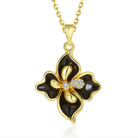 Gold Plated Onyx Diamond Petals Necklace - rubiquejewelry.com