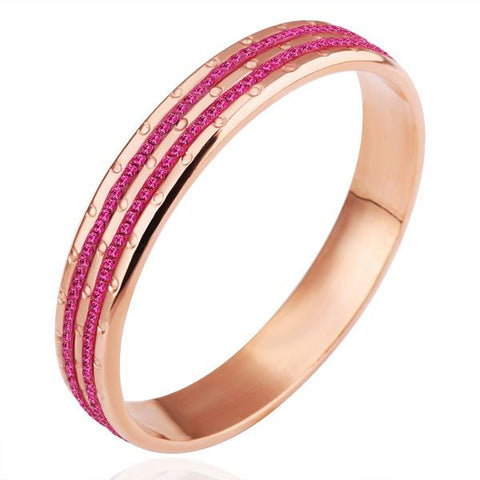 18K Gold Bangle with Ruby Jewels Ingrained with Swarovski Elements - rubiquejewelry.com