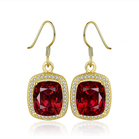 18K Gold Drop Down Ruby Gem Earrings Made with Swarovksi Elements - rubiquejewelry.com
