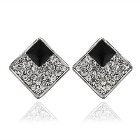 18K White Gold Diamond Shaped Stud Earrings with Onyx Layering Made with Swarovksi Elements - rubiquejewelry.com