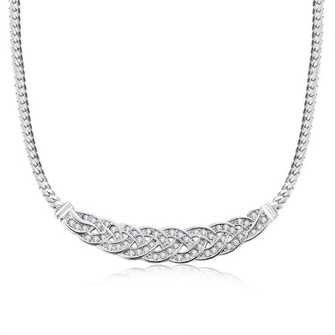 18K White Gold Plated Chained Loop Necklace - rubiquejewelry.com