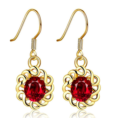 18K Gold Mini Ruby Gem Drop Down Earrings Made with Swarovksi Elements - rubiquejewelry.com
