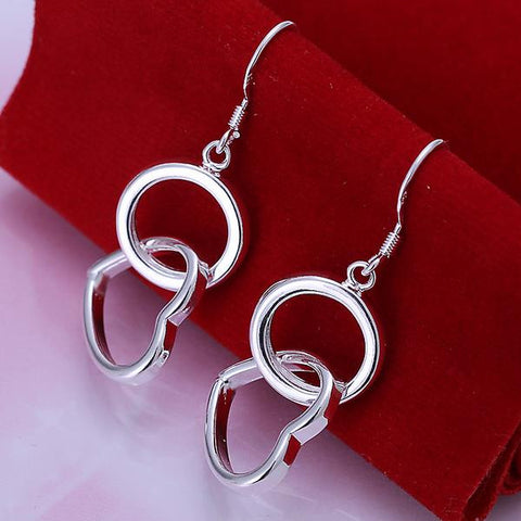 Sterling Silver Drop Circular & Hearts Earring - rubiquejewelry.com