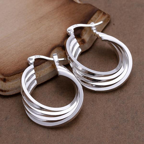 Sterling Silver Multi Layered Hoops - rubiquejewelry.com