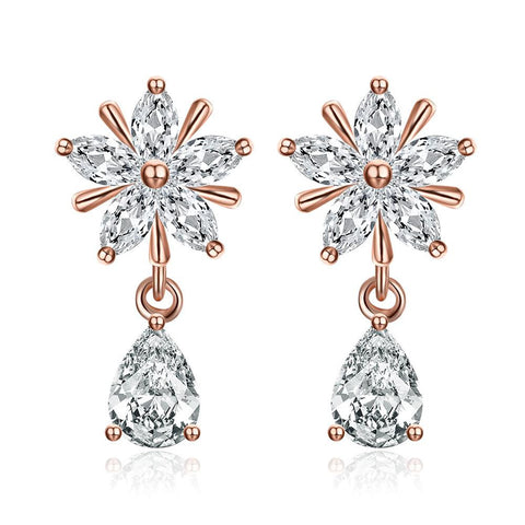 Rose Gold Plated Crystal Drop Studs - rubiquejewelry.com
