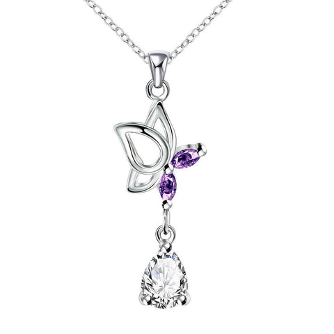 Purple Citrine Dangling Butterfly Drop Necklace - rubiquejewelry.com