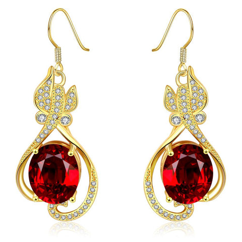 18K Gold Ruby Centerpiece Drop Down Earrings Made with Swarovksi Elements - rubiquejewelry.com