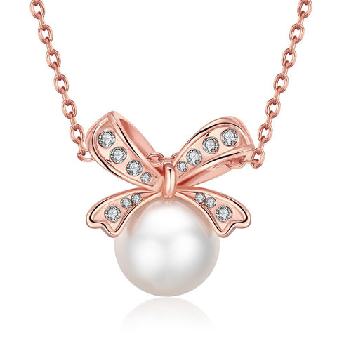 18K Rose Gold Plated Bow Pearled Necklace - rubiquejewelry.com